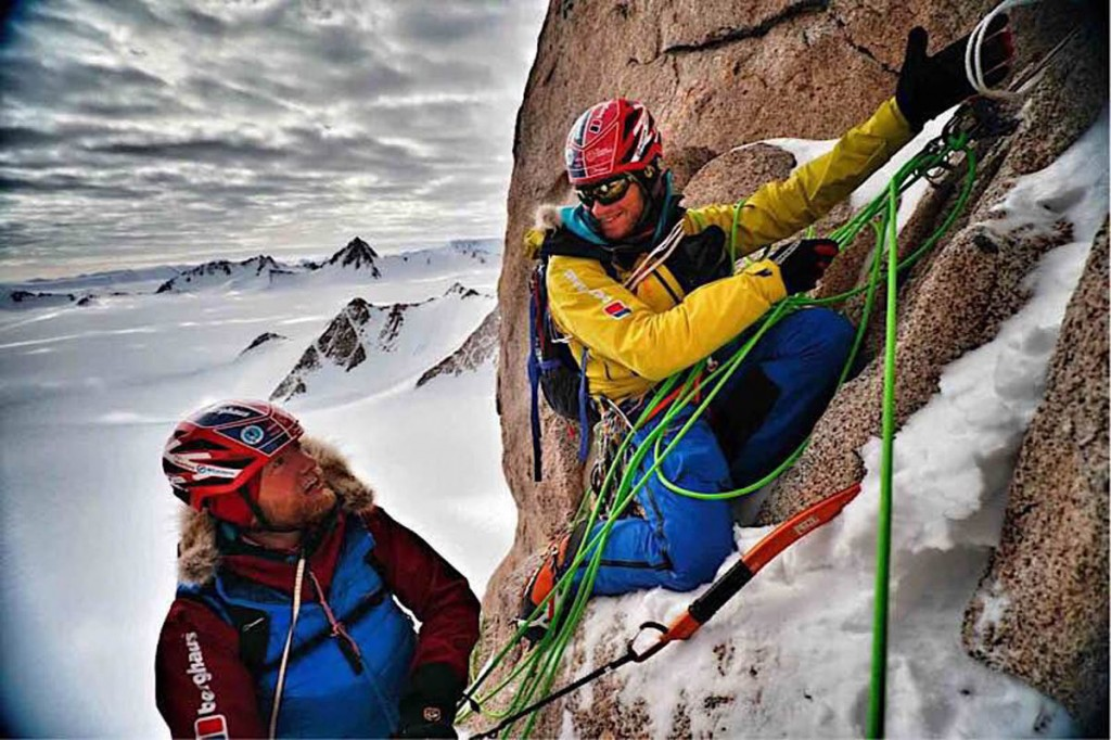 Jean Burgun and Leo Houlding climb towards the mountain's summit
