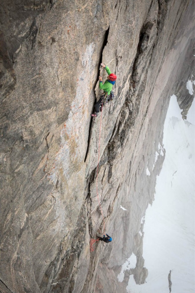 Leo Houlding on the Paper Flake during the climb. Photo: Matt Pycroft/Coldhouse Collective/Berghaus