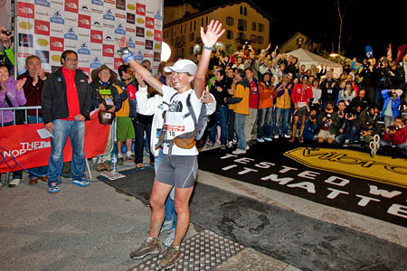 Lizzy Hawker celebrates her 2010 women's victory in the Ultra-Trail du Mont Blanc. Photo: Damiano Levati/The North Face