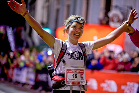 Lizzy Hawker won the women's UTMB race for the fifth time. Photo: Chiara Dendena