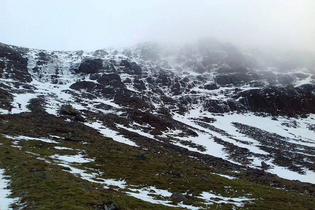The man fell after slipping on ice and snow. Photo: Llanberis MRT