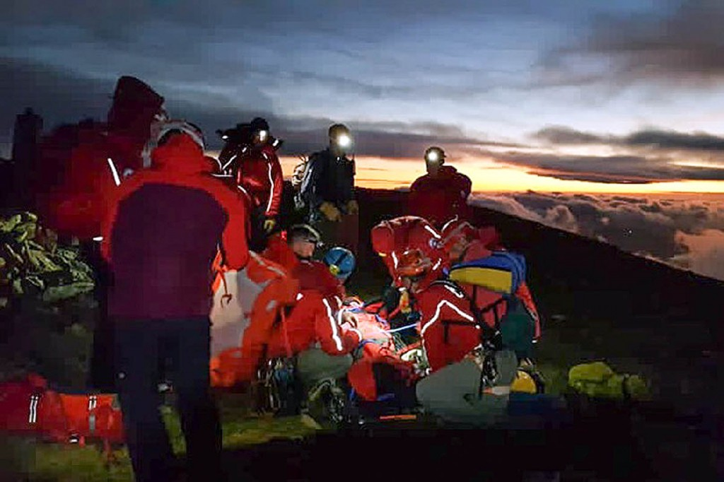 Team members in action during a rescue. Photo: Llanberis MRT