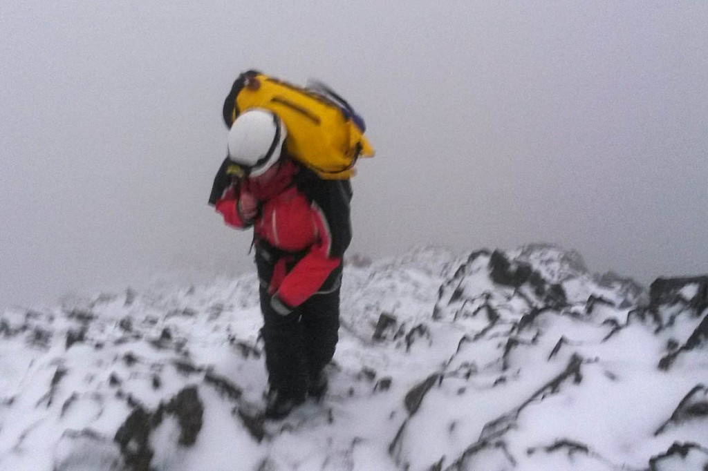 A member of the Llanberis team in action on Snowdon during a winter rescue. Photo: Llanberis MRT