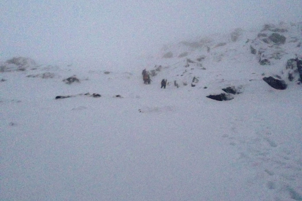 Snowdon was in full winter conditions during the rescue. Photo: Pete Robertson/Llanberis MRT