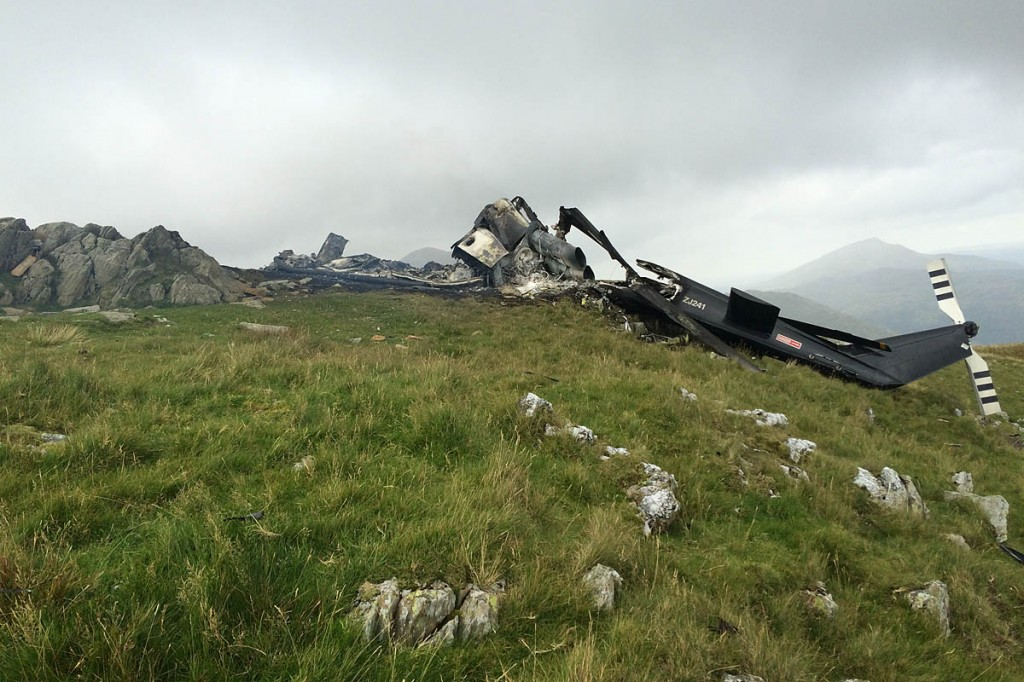 All the occupants of the helicopter escaped unharmed. Photo: Llanberis MRT