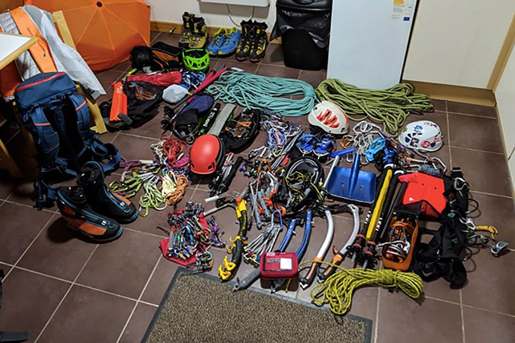 The equipment the climbers brought to Scotland