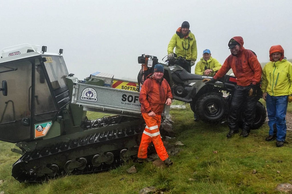 The mountain rescue all-terrain vehicle is retrieved from the mountain. Photo: Lochaber MRT