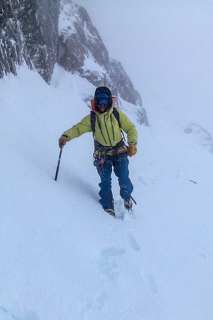 A Lochaber team member searching on the North Face. Photo: Lochaber MRT