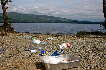 Litter on the western shore of Loch Lomond