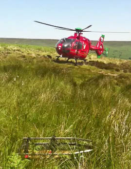 The Wales Air Ambulance airlifted the girl to hospital. Photo: Longtown MRT