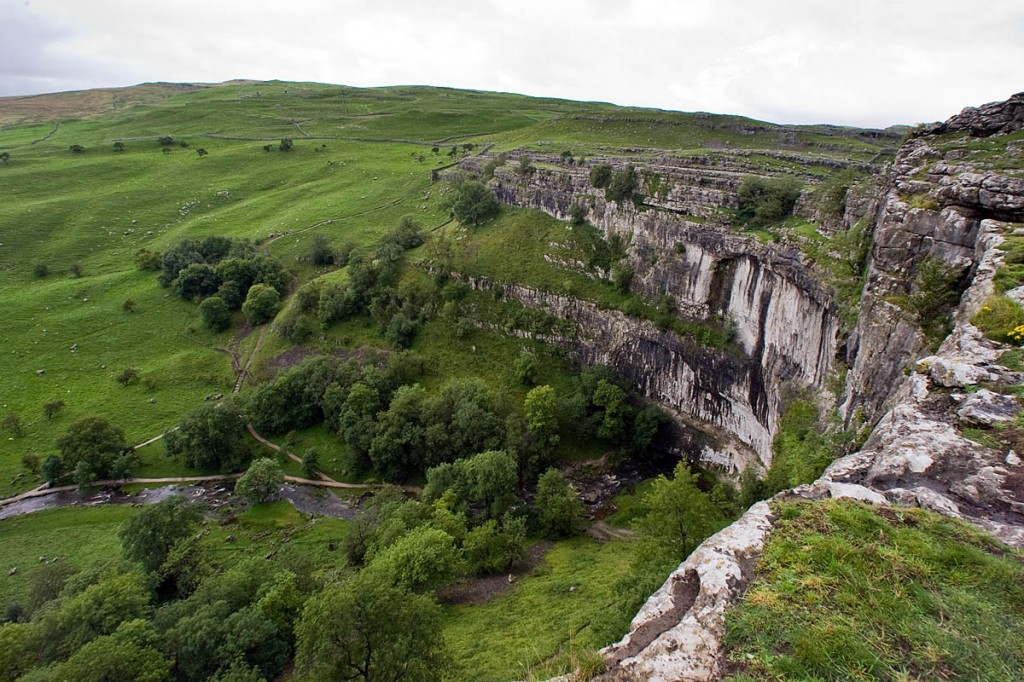 Bear Grylls abseils down Malham Cove in the programme
