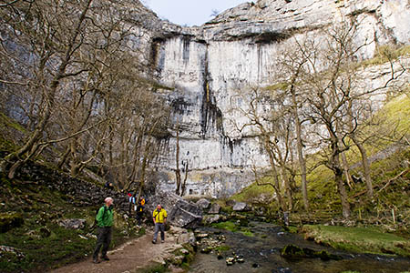 The woman slipped on the path leading to Malham Cove, the 80m crag in the Yorkshire Dales