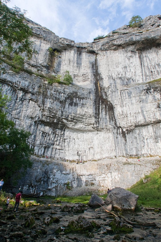 The climber was tackling a route on Malham Cove