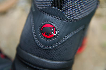 Mammut's trademark pachyderm adorns the heel of the T-Aenergy GTX boots