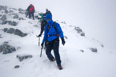 Hillwalking becomes mountaineering in winter