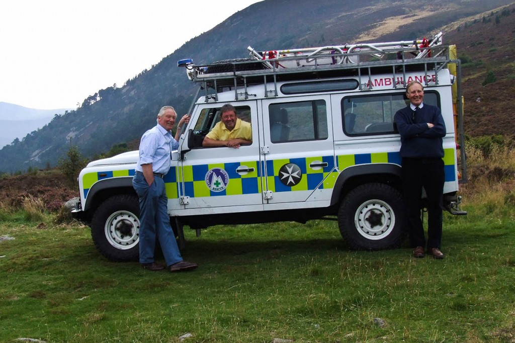 Sir Malcolm Ross, left, prior of St John Scotland,  with Willie Anderson, team leader of Cairngorm MRT, and Douglas Dow, chancellor of St John Scotland