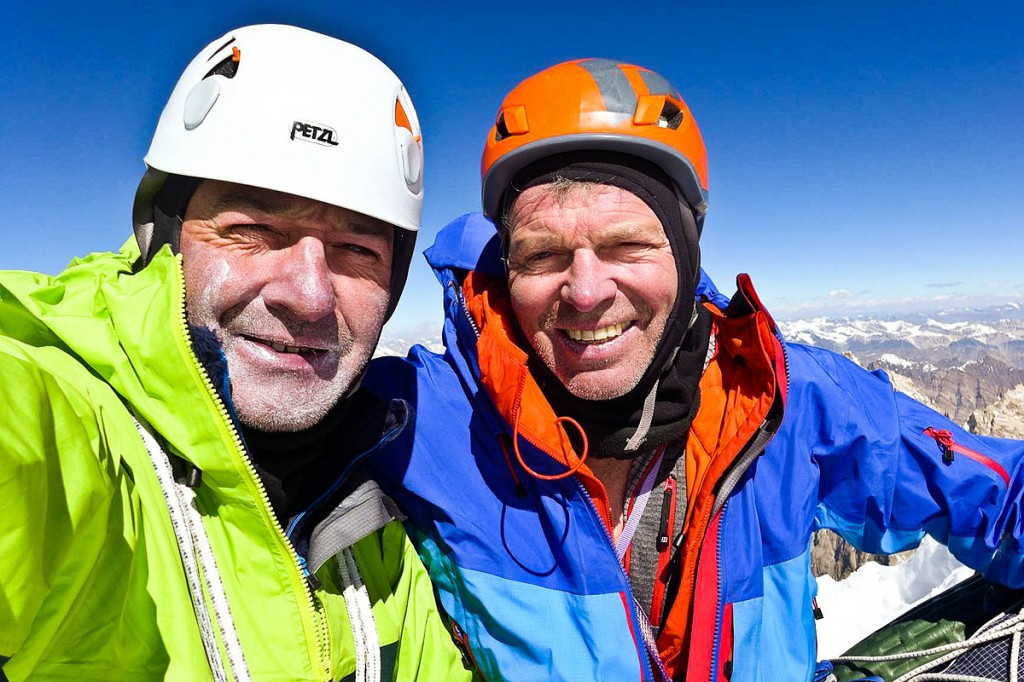 Paul Ramsden, left, and Mick Fowler on the summit of Hagshu. Photo: Mick Fowler/Berghaus