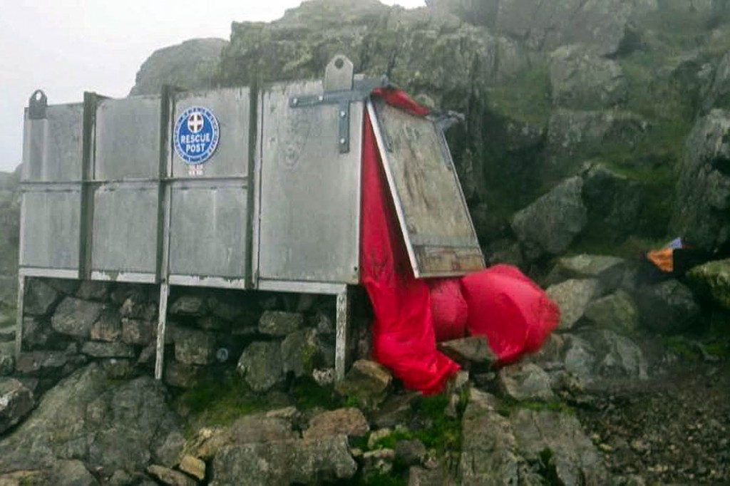 The stretcher box's contents were found scattered across the mountainside. Photo: Wasdale MRT
