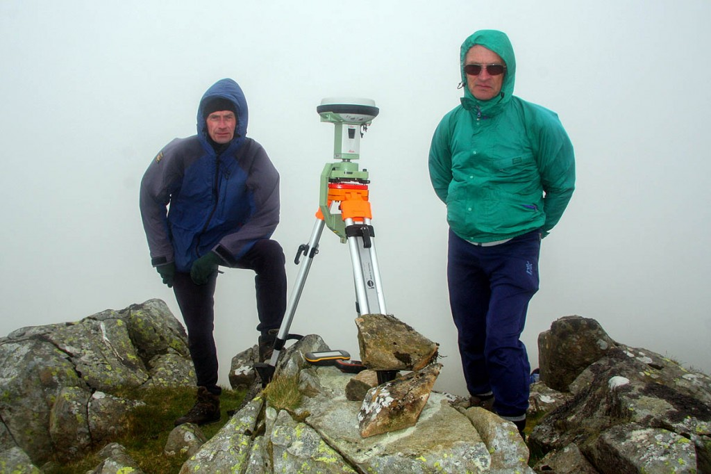 Graham and John beside the Leica GS15 at the summit of Moelwyn Mawr North Ridge top. Photo: Myrddyn Phillips