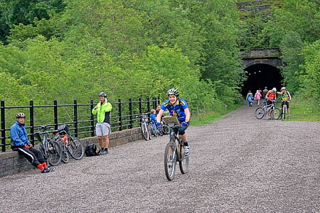 Cyclists on the Monsal Trail at Headstone Tunnel. Photo: Mick Garratt CC-BY-SA-2.0