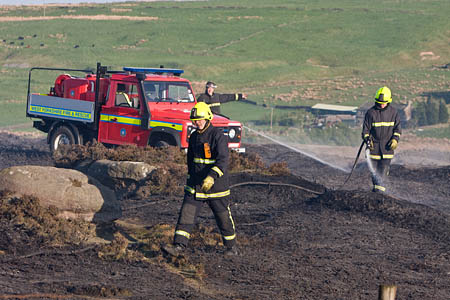 Firefighters tackle a fire on Black Moor in West Yorkshire