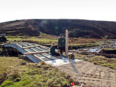 Work progresses on the bridge. Photo: Yorkshire Dales National Park Authority
