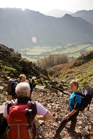 Tony leads a discussion above Langdale with Dave and Abbi
