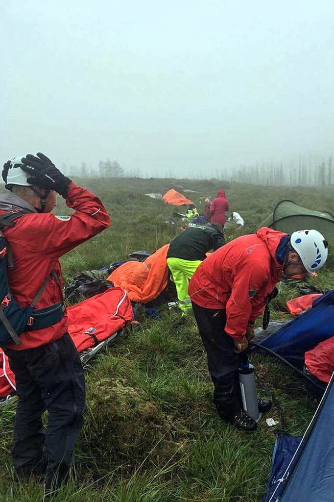 Rescuers at the scene in the Mourne Mountains. Photo: Mourne MRT