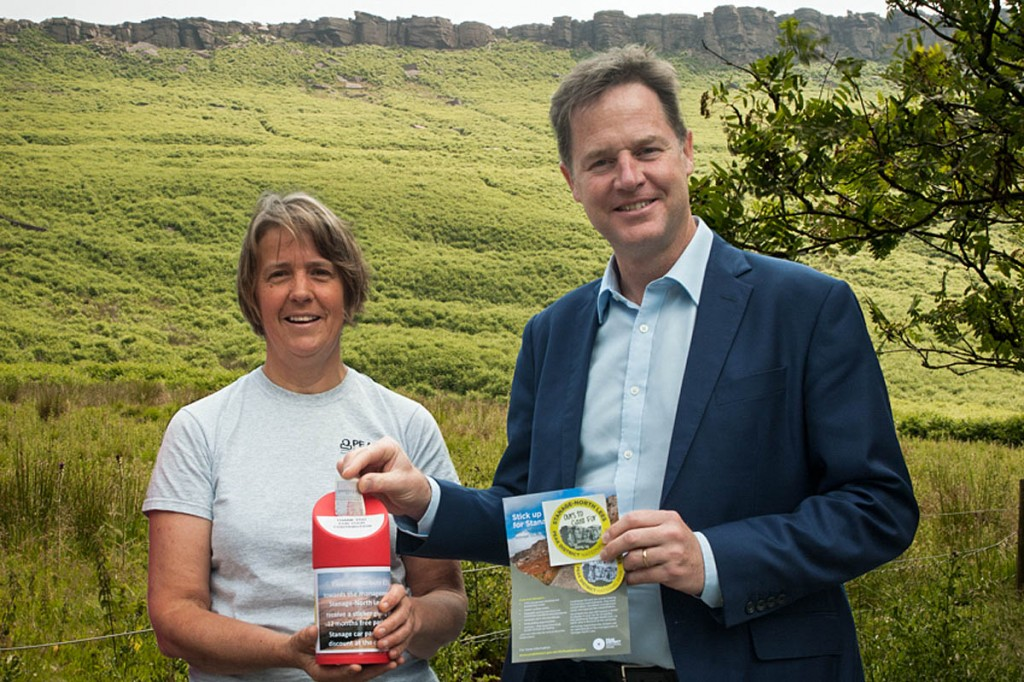 Nick Clegg receives his Stanage sticker from Rebekah Newman