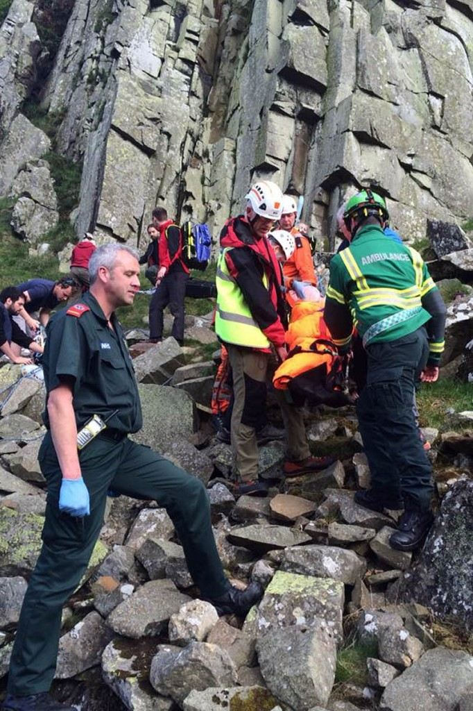 The injured climber had to be carried over broken ground. Photo: Northumberland NPMRT