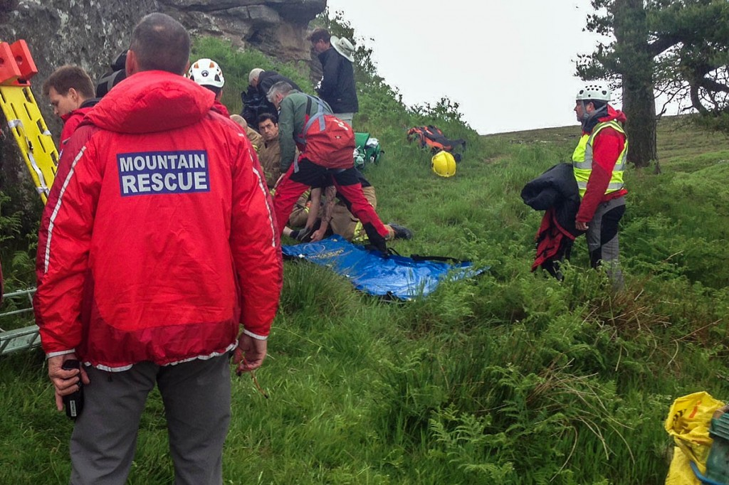 Rescuers at the site at Shaftoe Crags. Photo: Northumberland NPMRT