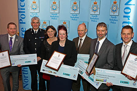 Present at the gathering: from left, Neal Ingram, Scarborough and Ryedale; Chief Constable Dave Jones; Police and Crime Commissioner Julia Mulligan; Heather Eastwood, CRO; Martin Renton, Upper Wharfedale; Tim Wood, Cleveland; and Alan Woodhead, Swaledale