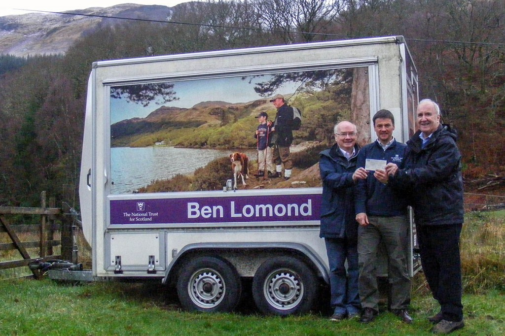 From left: Bill Dalrymple from Friends of Loch Lomond and the Trossachs, NTS's Alasdair Eckersall and James Fraser, chairman of the Friends