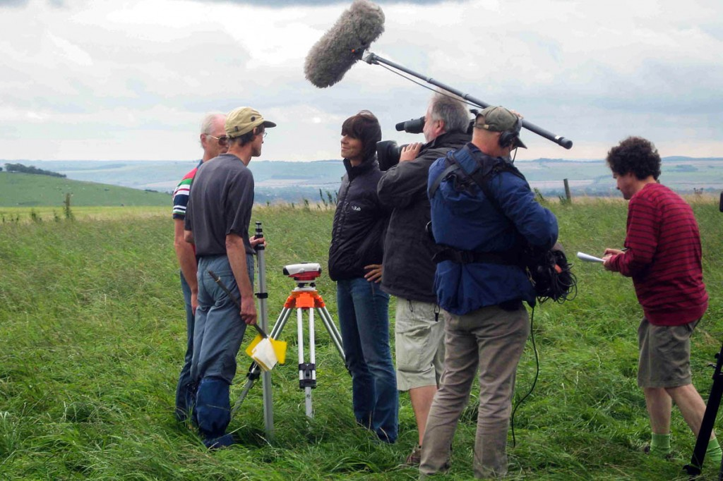 John Barnard and Graham Jackson are interviewed on Tan Hill by Julia Bradbury for Countryfile. Photo: G&J Surveys