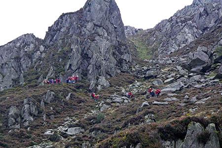The rescue scene on the slopes of Pen yr Ole Wen. Photo: Ogwen Valley MRO