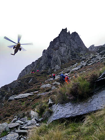Ogwen Valley rescuers at the site of the incident where a climber lost his lower leg. Photo: Ogwen Valley MRO
