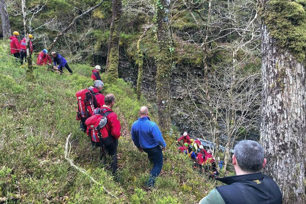 Rescuers at the scene in the Maentwrog gorge. Photo: Ogwen Valley MRO