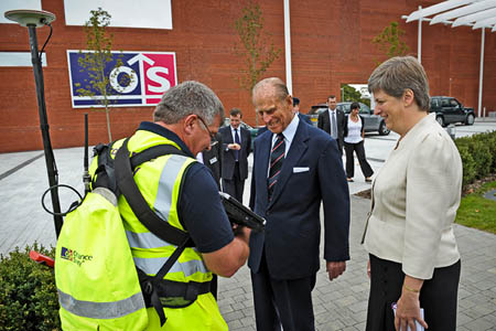 Prince Phillip meets an OS surveyor, with director-general Dr Vanessa Lawrence