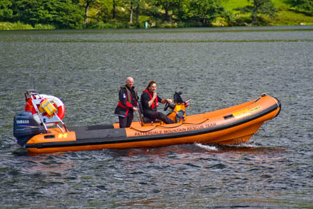 The Patterdale team used its boat to reach the injured walker