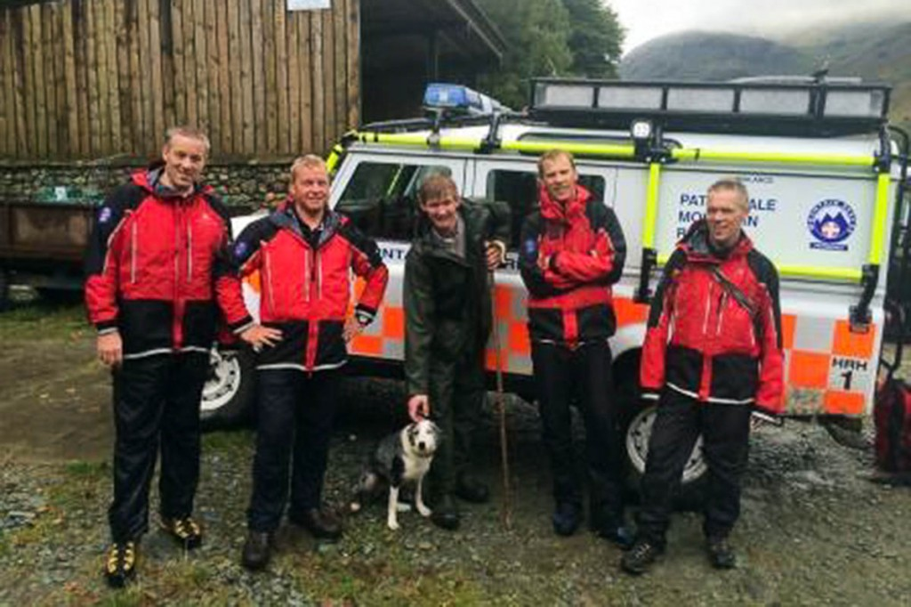 The Patterdale MRT rescuers with Kim and the dog's owner. Photo: Patterdale MRT