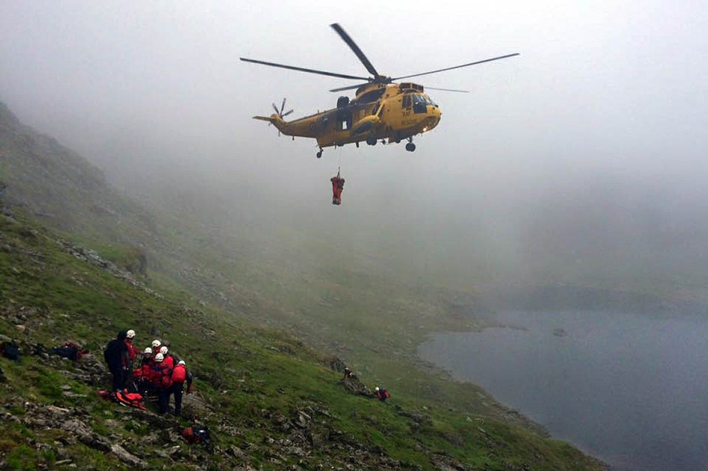 The RAF Sea King and mountain rescuers in action during the incident. Photo: Patterdale MRT