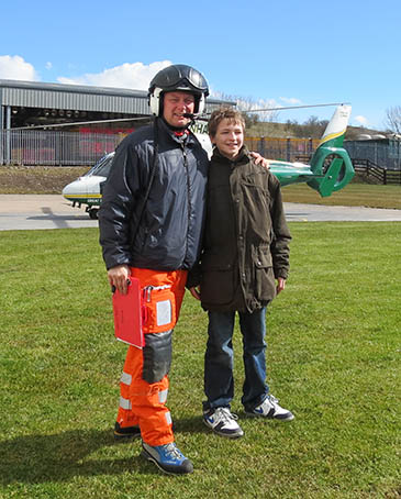 Tom meets one of his rescuers at the Great North Air Ambulance base
