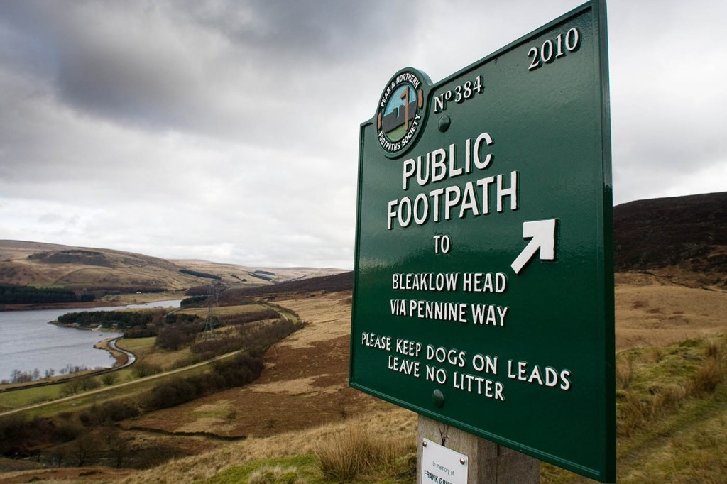 A Peak and Northern Footpaths Society sign on the Pennine Way in Longdendale