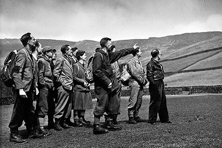 Tom Tomlinson, first head warden for the Peak District national park, with his team in 1954