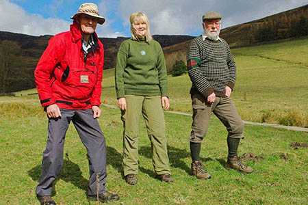 Demonstrating the changing ranger styles: from left, volunteer ranger Ian Milne in the modern uniform; area ranger Sheila McHale in the outfit she wore in the 1980s, and retired Edale ranger Gordon Miller in 1950s style