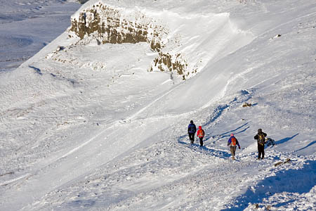 The section of path above the dog-leg holds snow longer than any other on the mountain