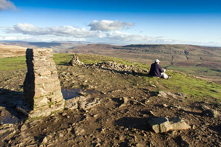 Pen-y-ghent's summit, looking eastwards to Fountains Fell