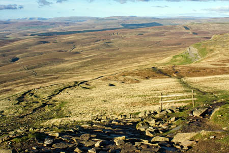 Horton Moor and the route over Black Dubb Moss from Pen-y-ghent