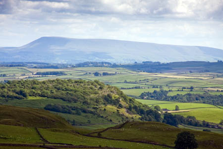 Pendle Hill's bulk, seen from the Yorkshire Dales