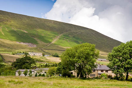 On the path towards Pendle House, from which the diagonal path rises up the flank